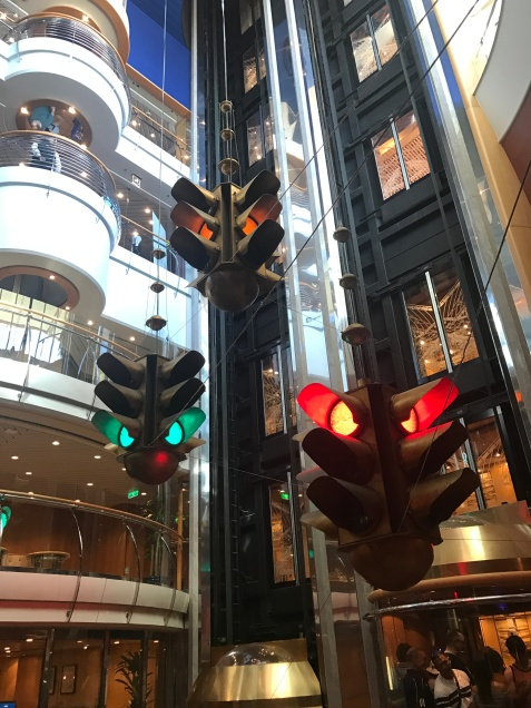 I love the art throughout the ship, like this traffic light display in the elevator atrium.